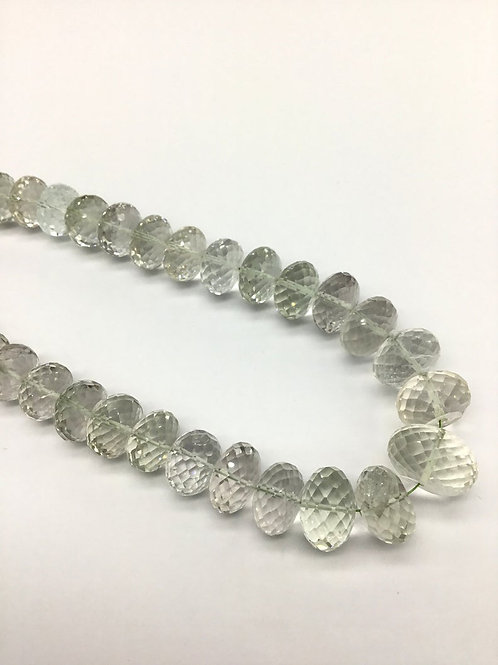 Green Amethyst + White Quartz 10 '' Faceted Beads 100% Natural Gemstone 263 Ct