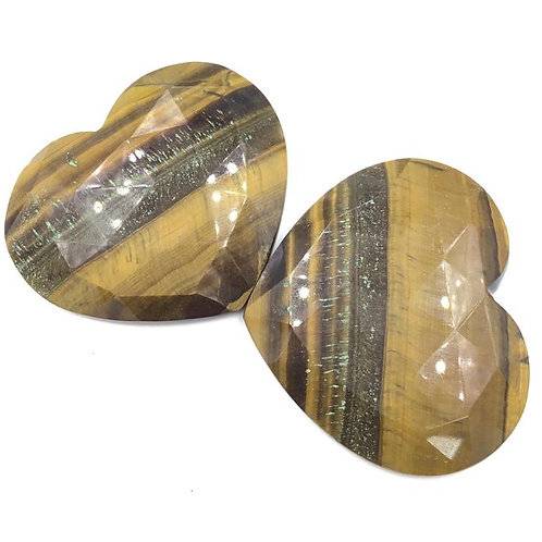 Tiger Eye Natural Gemstone Faceted Heart Shape Tumble Size 43 To 50mm ,248.35 CT