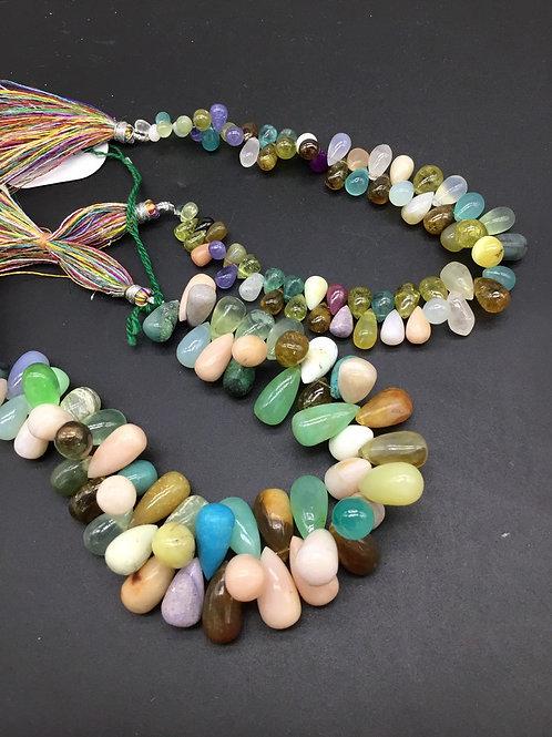 "Multiple Mixed Gems 8"" Natural gemstone plain drops 4 x 6 to 9 x 17 MM gemstone"