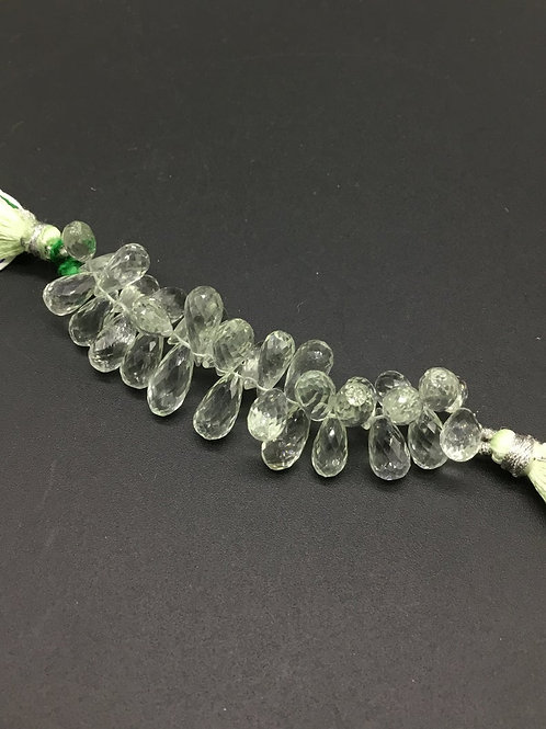 Green Amethyst 3 '' Faceted Drops Natural Gemstone Necklace 68 Ct