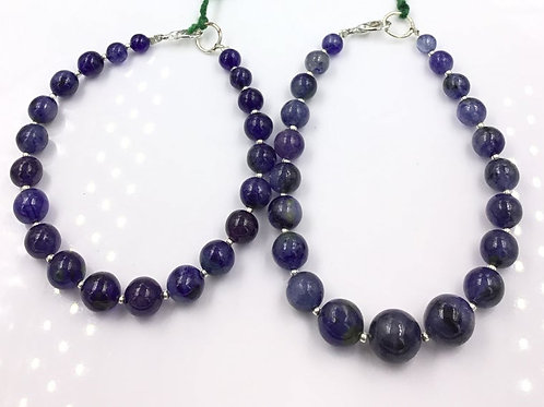 Blue Sapphire Glass Filled Treated Sapphire Ball Beads 218.7, Size =5 To 11 MM