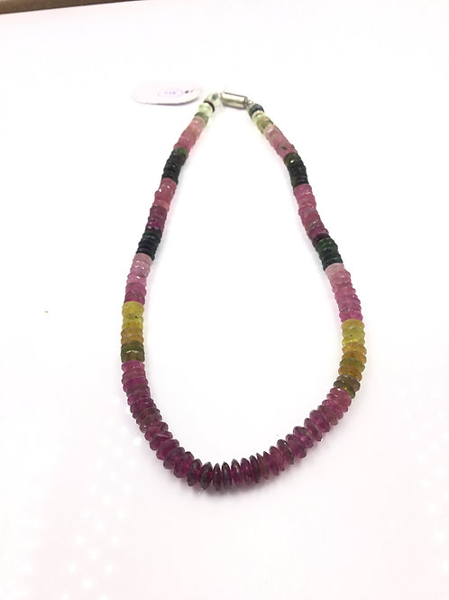 Multi Tourmaline Mixed Shaded German Cut Beads Necklace Natural Gemstone