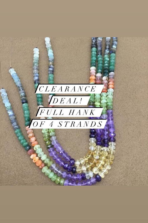 Closeout Sale price Semi multi Faceted Beads 4 strands full hank wholesale