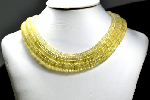 Lemon Quartz - 16'' Brazil smooth Tyre 1 Strand Gemstone Jewelry Beads Handmade