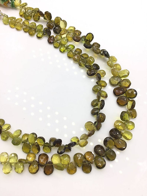 Tourmaline Green/ yellow / brown Pear / Almond Natural Gemstone Necklace 8''