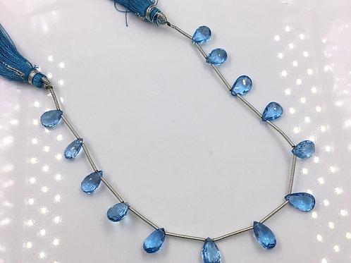 Blue Topaz Faceted Almonds 1 Strand Natural Gemstone