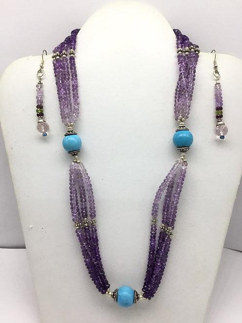 Semi precious amethyst Gemstone Beaded Tassel necklace with earrings
