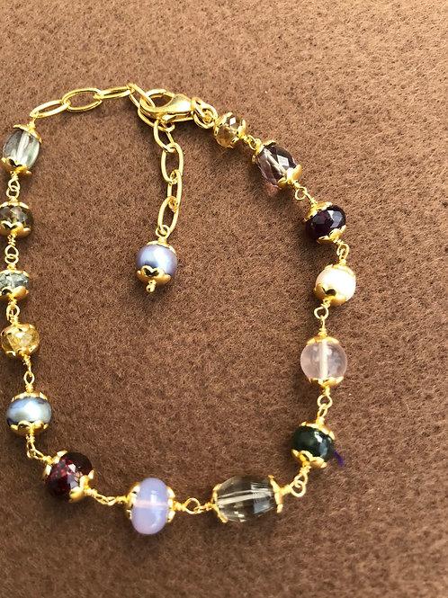 Silver Jewellery 925 Sterling Silver 11'' Semi Multi Gemstone Silver Bracelet