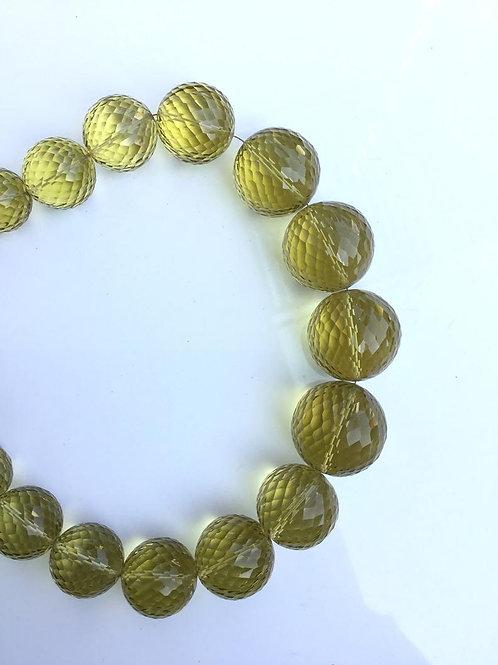 Lemon Quartz Concave Cut Faceted Balls Natural Gemstone