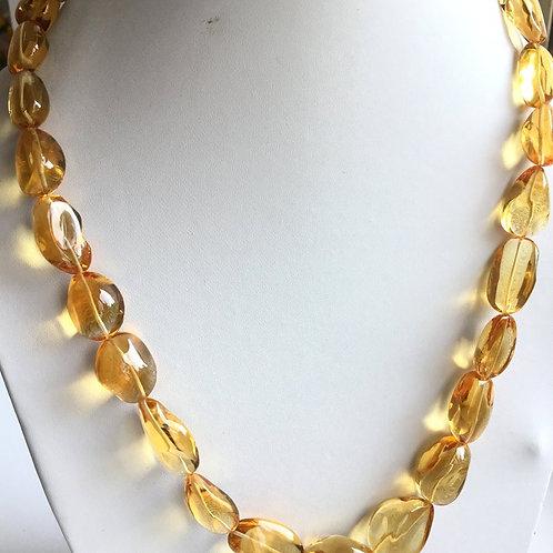 Citrine Quartz Fine Quality Tumbled Gemstone Necklace