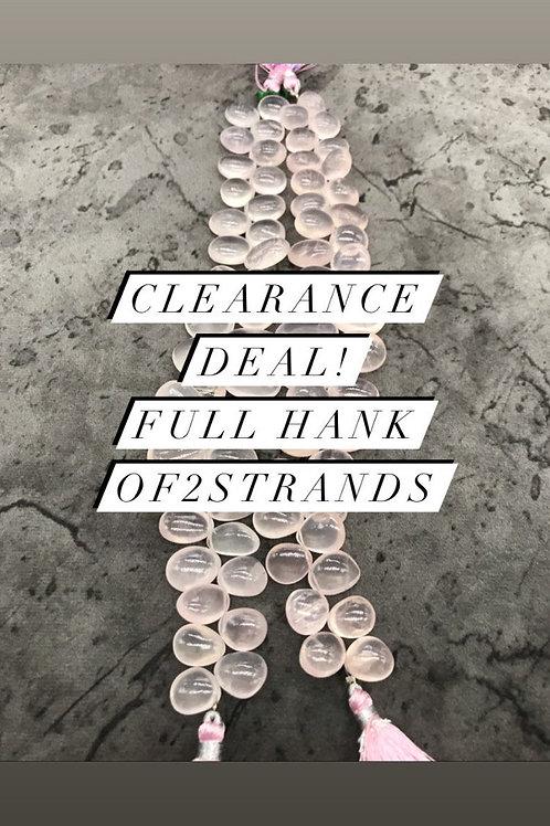 Closeout Sale Rose Quartz Plain Fancy Big 2 strands full hank wholesale closeout