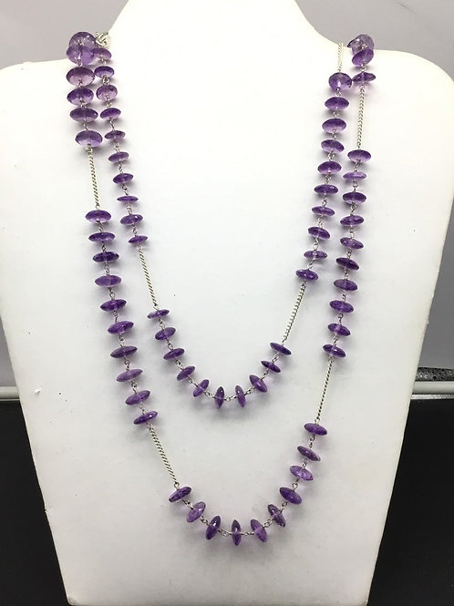 Amethyst Chain Jewellery Necklace in sterling 925 silver 54.22 grams