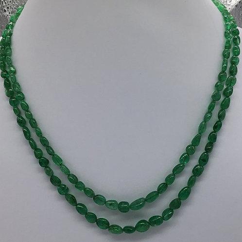 Emerald Tumbled Brazilian Necklace 100 % Natural Emerald Tumble Emerald Beads