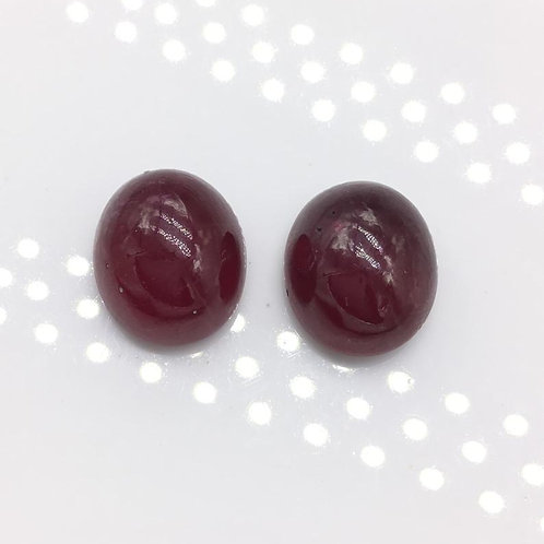 Ruby Cabochon Gemstone Pair, For Jewelry Making