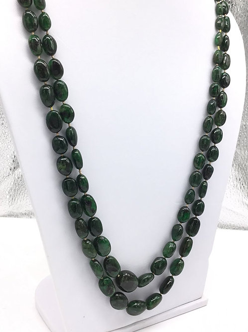 Natural Emerald Necklace Deep Green Brazilian Emeralds Tumble Beads 2 Strand