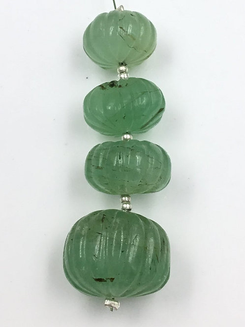 Emerald Carved Watermelon Loose Natural Gemstone Size 13 To 18 MM 69 Carats