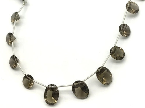 SMOKY CONCAVE CUT stones 8'inch strand
