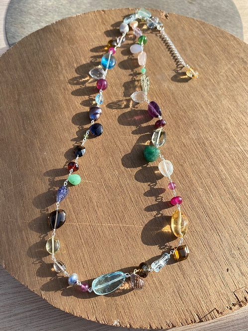 Silver Jewellery 925 Sterling Silver 28'' Semi Multi Gemstone Silver Chain