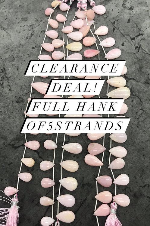 Closeout Sale Pink Opal Plain Almond 5 strands full hank wholesale closeout deal