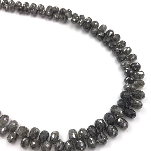 Fancy Grey\Black Diamond Drops Beads 12 Inches 2.5 To 4x3 mm Approx 39.95 Carats