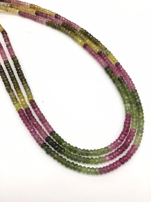 Tourmaline Multi Faceted Shaded Beads / Beaded Necklace 1strand 16inch length