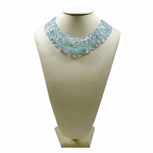Aquamarine necklace tumble gemstones natural - 16'' Africa Smooth Tumble
