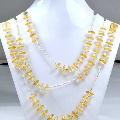 925 Sterling Silver Chain Citrine 44 '' Faceted Tyre 66.00 G.M Natural Gemstone