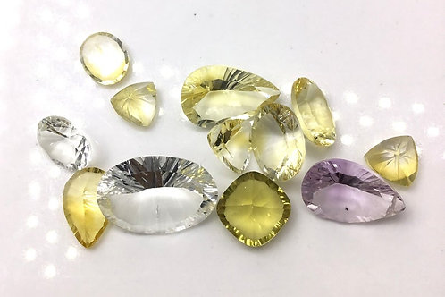 Multi Quartz Faceted Fancy Mix Shapes Natural Loose Gemstone