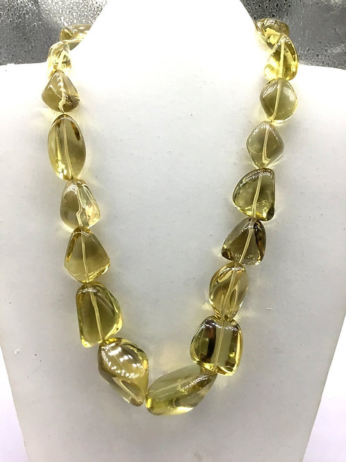 Honey Quartz 16 '' Plain Tumble 1 Strand Natural Gemstone Necklace 627 Ct