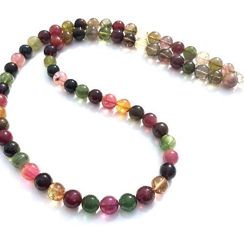 Multi Tourmaline Shaded Plain Ball Beads Necklace Natural Gemstone
