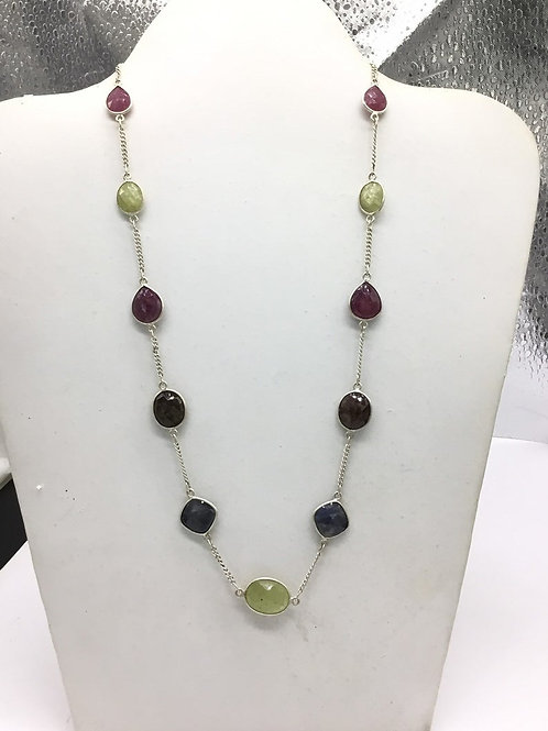 Multi Sapphire jewellery Silver Chain fancy 15grams weight 100% Natural Gemstone