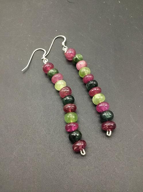 Multi Tourmaline Earrings Tassel Jewelry