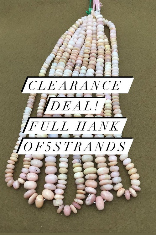 Closeout Sale price Pink Opal Plain Beads 5 strands full hank wholesale closeout