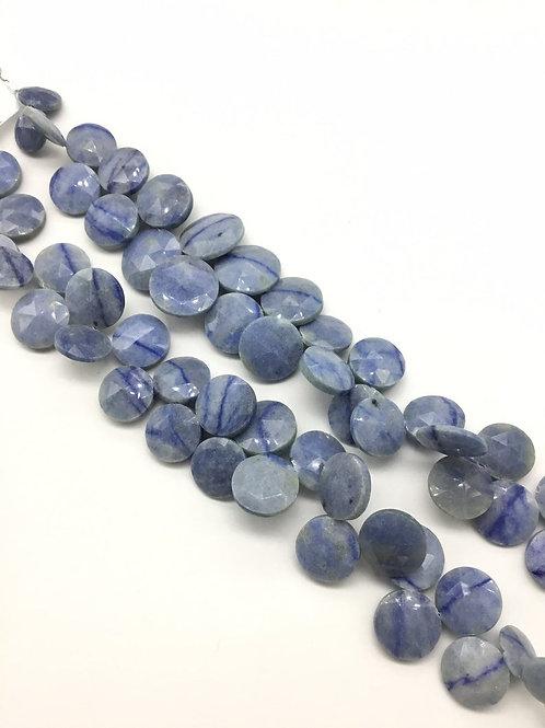 Blue Quartz Faceted Round 1strand 202carats size- 8 to 12 MM