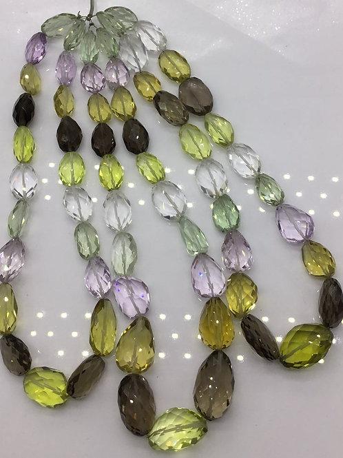 Semi Multi Mixed Quartz Concave Cut Tumbles Beads Natural Gemstones Shape