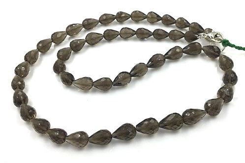 Smoky Quartz Faceted Straight Drilled Drops 1strand Natural Gemstone Beads