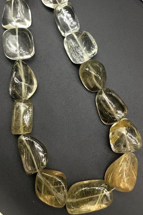 Multi Rutile 16 '' Big Size Plain Tumble 1strand 990 Ct Gemstone Necklace