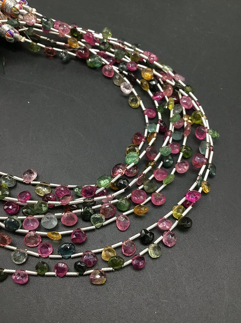Tourmaline Multi Faceted Pear Natural Gemstone Necklace 8'' Faceted Tourmaline