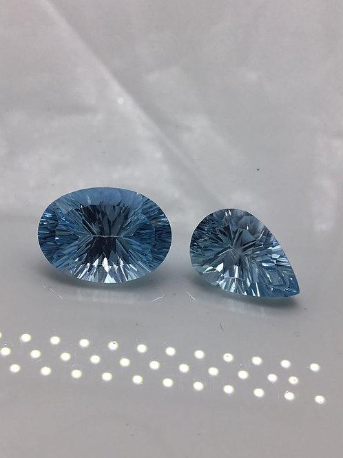 Blue Topaz Sky Fancy Concave Cut shape Natural Gemstone Jewelry