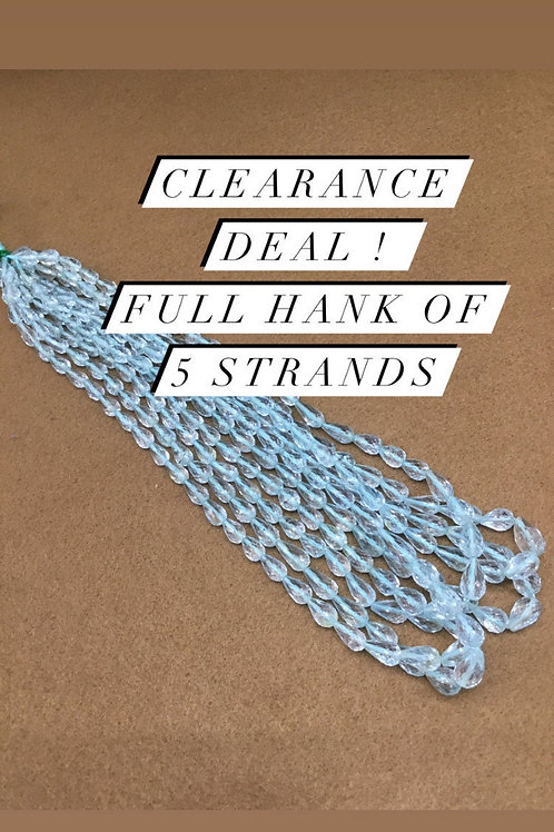 Blue Topaz faceted DROPS 5 strands full hank wholesale closeout deal natural