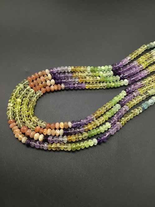 Multiple Mixed Gems Faceted Beads Natural Gemstone 16'' Necklace 1 Strand