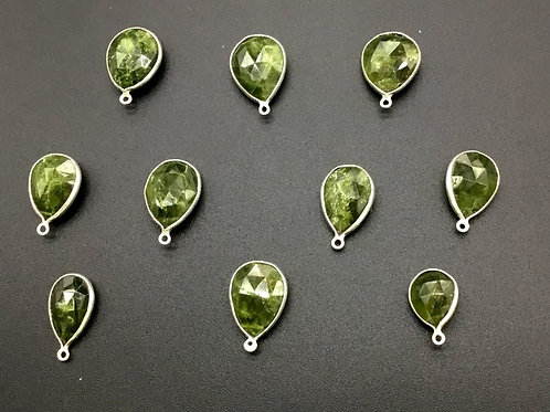 Vessonite + Silver Pendant Loose Gemstone 925 Sterling Silver Faceted Pear 10 PC