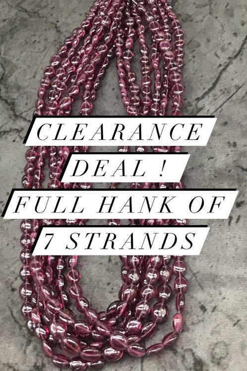 Garnet Plain oval 7 strands full hank wholesale closeout deal natural gemstone