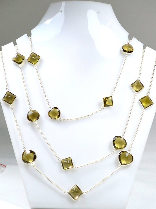 925 Sterling Silver Chain Olive Quartz 42 '' Faceted Mix Shape 31.72 G.M
