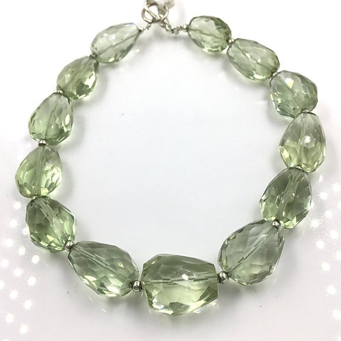 Green Amethyst Faceted Fancy Tumbles Gemstone Jewelry