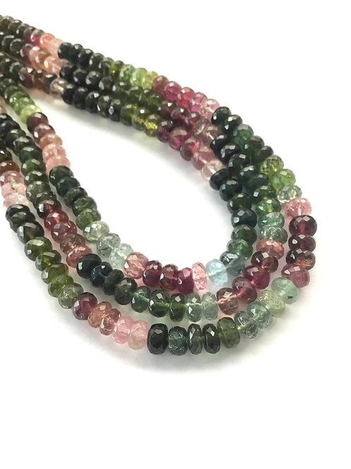 Multi Tourmaline Mixed Shaded faceted Beads Necklace Natural Gemstone Beads