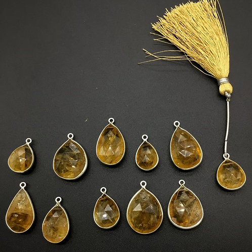 Citrine + Silver Jewellery Loose Gems With Feceting 925 Sterling Silver Faceted