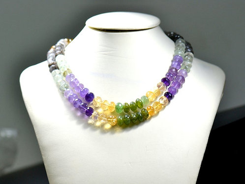 Multiple Mixed Gems - 16'' Faceted Beads 1 Strand Gemstone Jewelry Beads