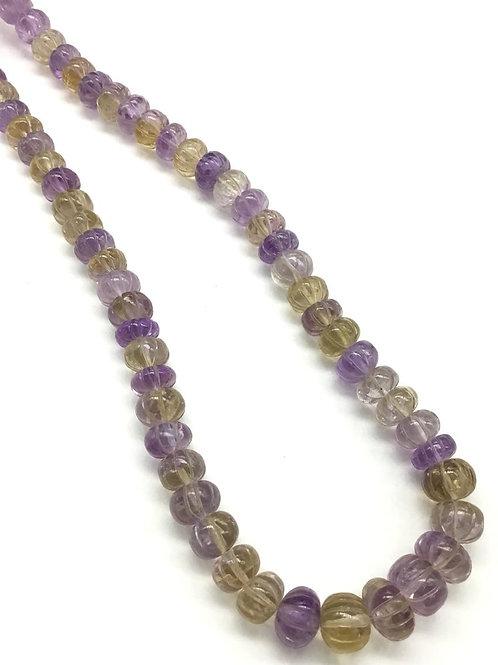 Ametrine Melon Beads 1strand 300carats Size- 9 to 13MMAmetrine Melon Beads