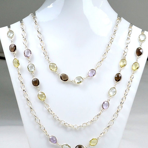 925 Sterling Silver Chain Semi Precious Multi 44 '' Faceted Oval 39.70 G.M